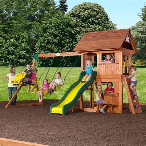 backyard discovery cedar view swing set alpine wooden swing set with assembly