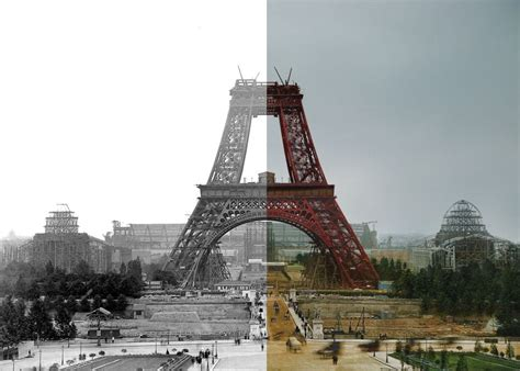who designed the eiffel tower paper time machine landmarks like tower bridge and the eiffel tower being built in colour for