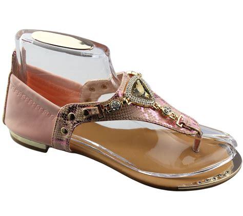 Flat Sandal Wedding Shoes by Womens Flat Sandals Diamante Summer Wedding Shoes