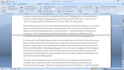 how to create an index in word