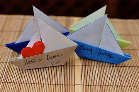 Origami Favors - origami sailboat favor place cards