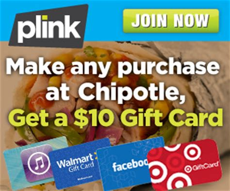 Chipotle Gift Card Cvs - new plink customers free 10 00 giftcard with chipotle purchase ftm