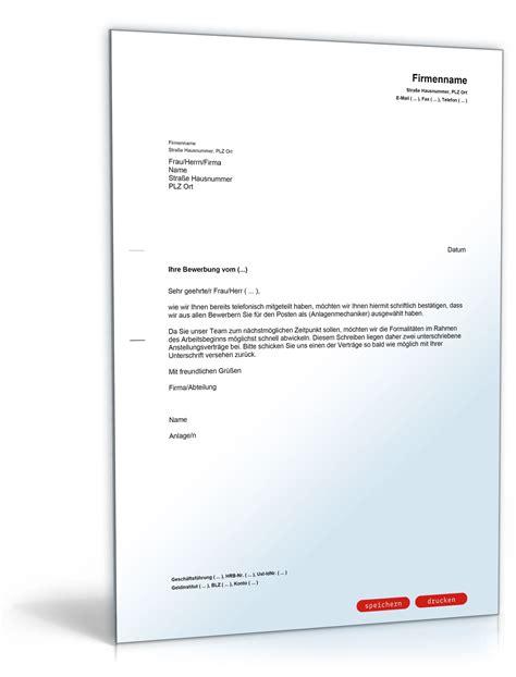 Musterbriefe Gratis Vorlagen Einstellungszusage Mit Arbeitsvertrag In Der Anlage Muster Vorlage Zum