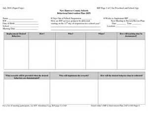 behavior plan templates sle behavior intervention plan template chainimage