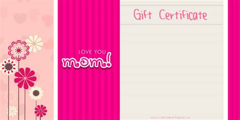 mothers day gift cards templates s day gift certificate templates