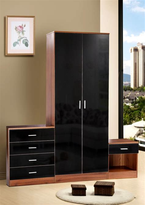 high gloss black bedroom furniture caspian high gloss black walnut 3pc bedroom furniture set