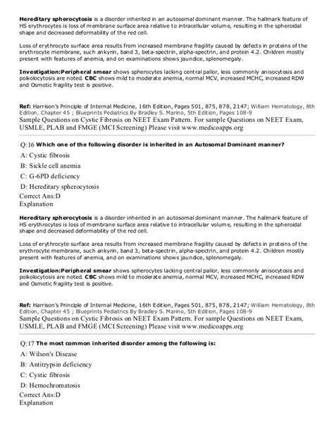 pattern based questions in c cystic fibrosis sle questions based on neet pg usmle