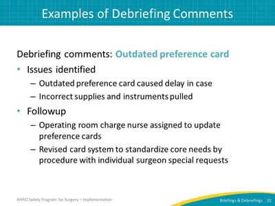 surgery preference card template pdf auditing your briefings and debriefings process slide