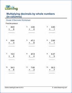 multiplying decimals by whole numbers worksheet