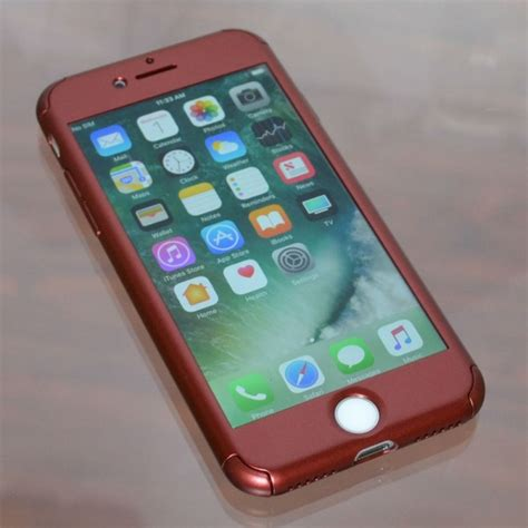 red  slim protective case tempered glass  iphone