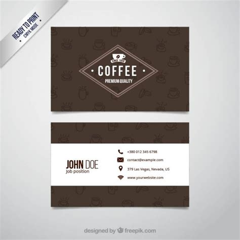 coffee business card vector premium