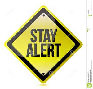 Stay alert yellow illustration design over white royalty free stock