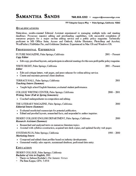 Cv Template To And Edit Copy Editor Resume