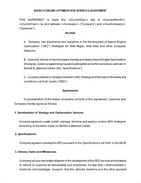 5 seo contract templates free word pdf format download