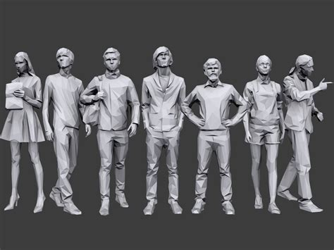 model vr ar ready lowpoly people casual
