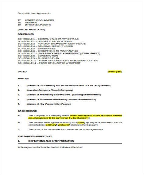 Loan Agreement Form Word Employee Forgivable Loan Agreement Template