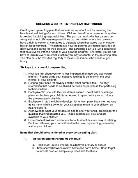 co parenting agreement template co parenting contract agreement template 28 images sle