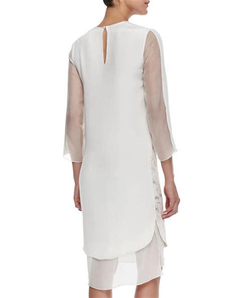 chiffon foil print 3 4 sleeve dress
