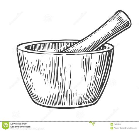Mortar And Pestle Drawing