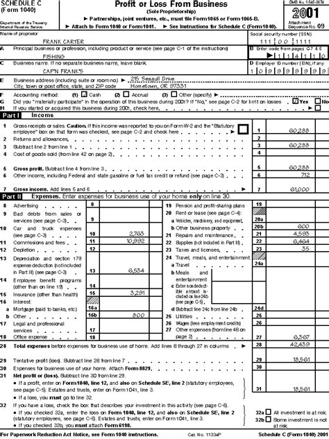 schedule c template irs form 1040 schedule c