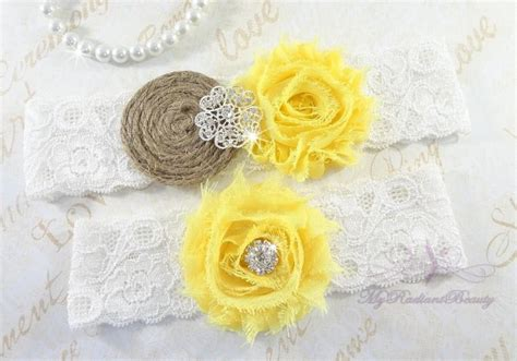 yellow shabby chic wedding garter wedding garter set rustic garter handmade yellow shabby chic garter