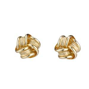 gold studs 9ct gold satin and polished knot stud earrings ernest jones