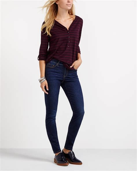 3 4 sleeve striped henley t shirt reitmans