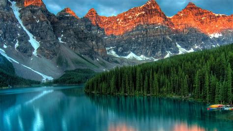 wallpaper moraine lake banff canada mountains forest  nature
