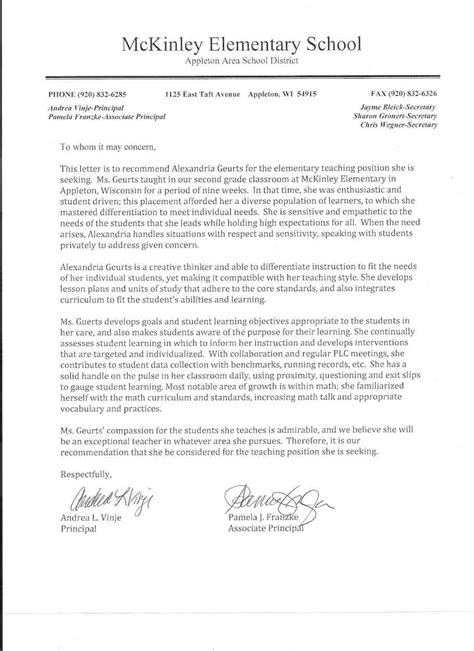 Recommendation Letter For Student In Education letters of recommendation for student teachers exles