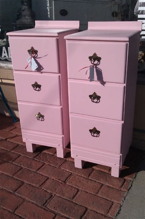 vintage pink nightstand pair shabby chic pink vintage chic