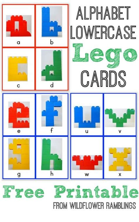 alphabet lego cards lowercase free printable lego