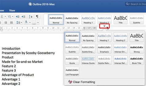 Powerpoint Outline View Mac by Creating Powerpoint Outlines In Microsoft Word 2016 For Mac
