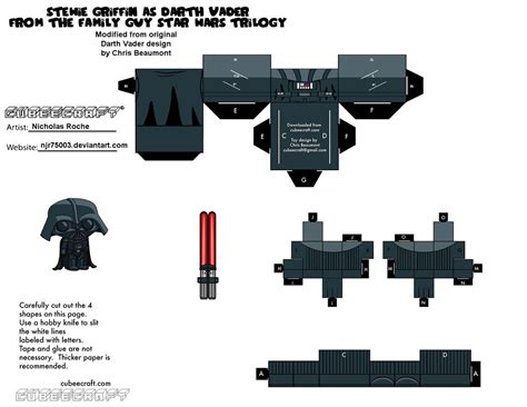 Papercraft Darth Vader - cubee family wars stewie as vader 2 2 by njr75003