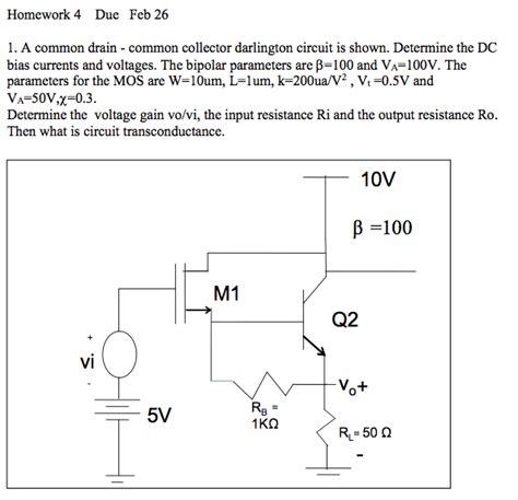 darlington transistor circuit analysis nmos bjt darlington pair dc bias homework help electrical engineering stack exchange