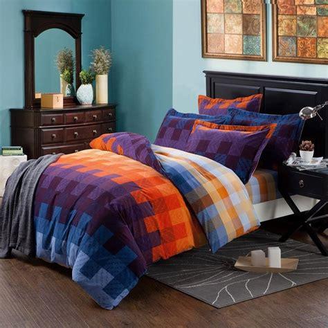 blue patterned bedding uk royal blue purple and orange tartan plaid full queen size