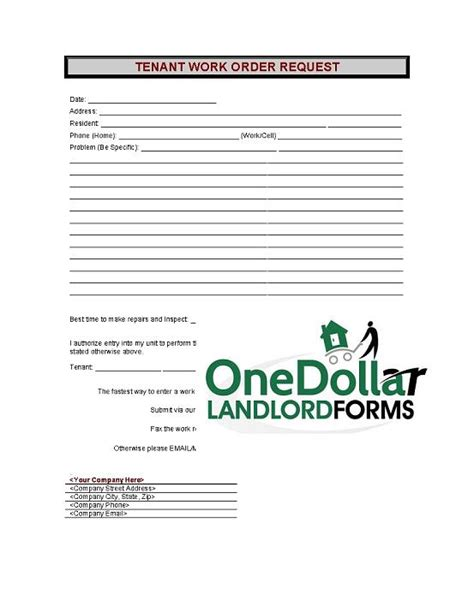 request for tenancy approval form section 8 c07 tenant work order request onedollarlandlordforms