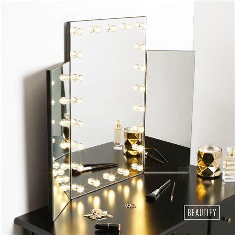 beautify led light table top tri 3 way fold folding