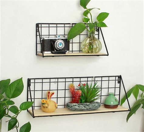 etagere blumen metal wall rack iron flower vase holder multi use wooden