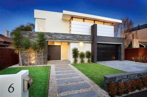 modern front yard simple lines stepping stone entrance outside the house pinterest