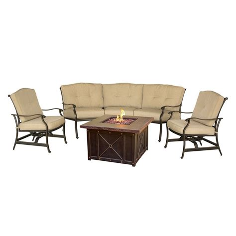 Conversation Sets Patio Furniture Shop Hanover Outdoor Furniture Traditions 4 Aluminum Frame Patio Conversation Set With