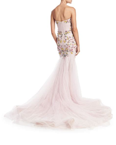 marchesa strapless embroidered mermaid gown blush