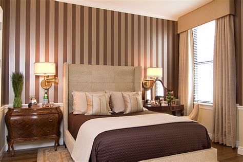 bedroom with stripes silver and brown stripes blend in with the color scheme of