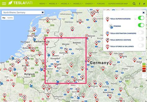 tesla map tesla supercharger map rheine germany teslarati