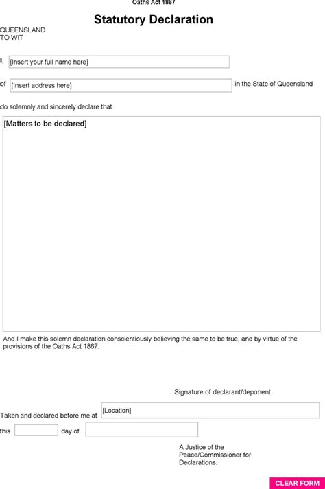 statutory declaration template statutory declaration form qld for free tidyform