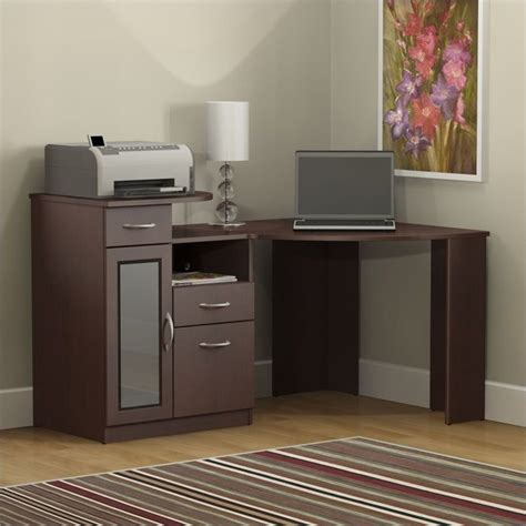 bush vantage corner home office harvest cherry computer