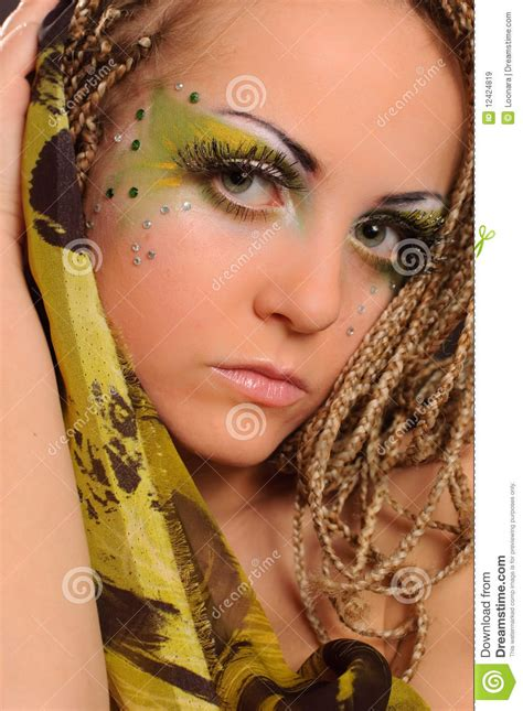 pictures of exotic braids girl with bright exotic makeup royalty free stock images