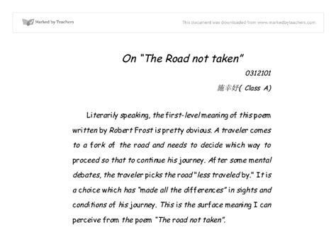 Road Not Taken Essay by Free Sle College Admission The Road Not Taken By Robert Essay