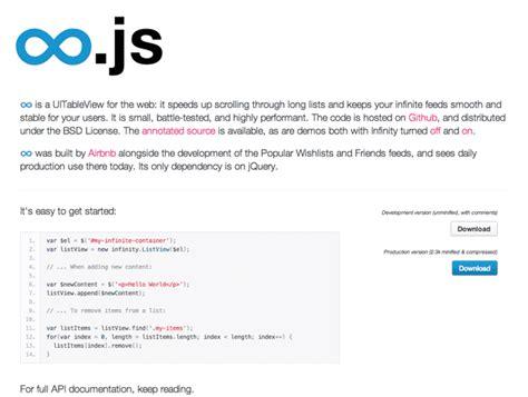 javascript layout tools infinity js best web design tools