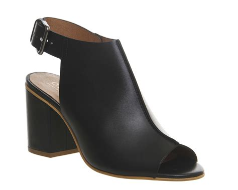 office wanderlust peep toe shoe boots black leather mid