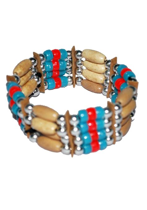 Tribal Indian Beaded Bracelet   Indian Costume Jewelry